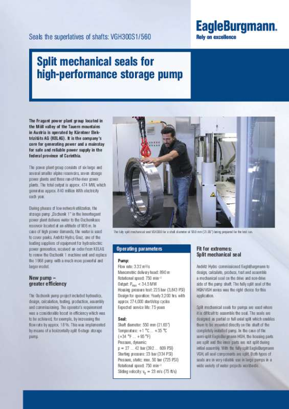 Solution: VGH mechanical seals for storage pump